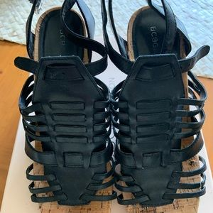 BCBG Wedge Sandals size 9.5 black